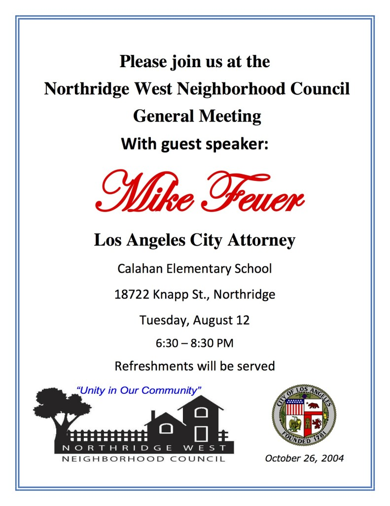Mike Feuer Guest Speaker