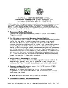 thumbnail of December 6, 2016 Special Board Meeting Minutes