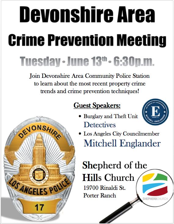 DEVONSHIRE AREA CRIME PREVENTION MEETING