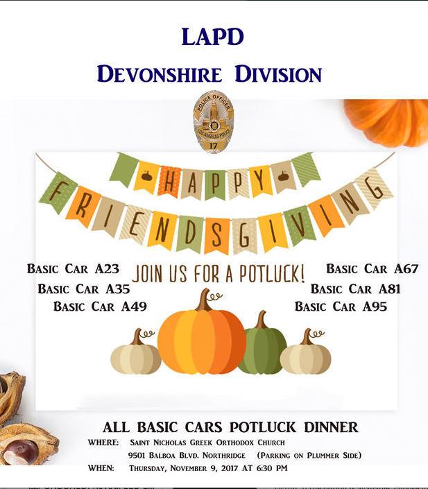 LAPD Devonshire Division Happy Friendsgiving Potluck Event All Basic Cars