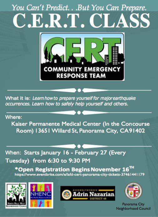 CERT 1 class flyer