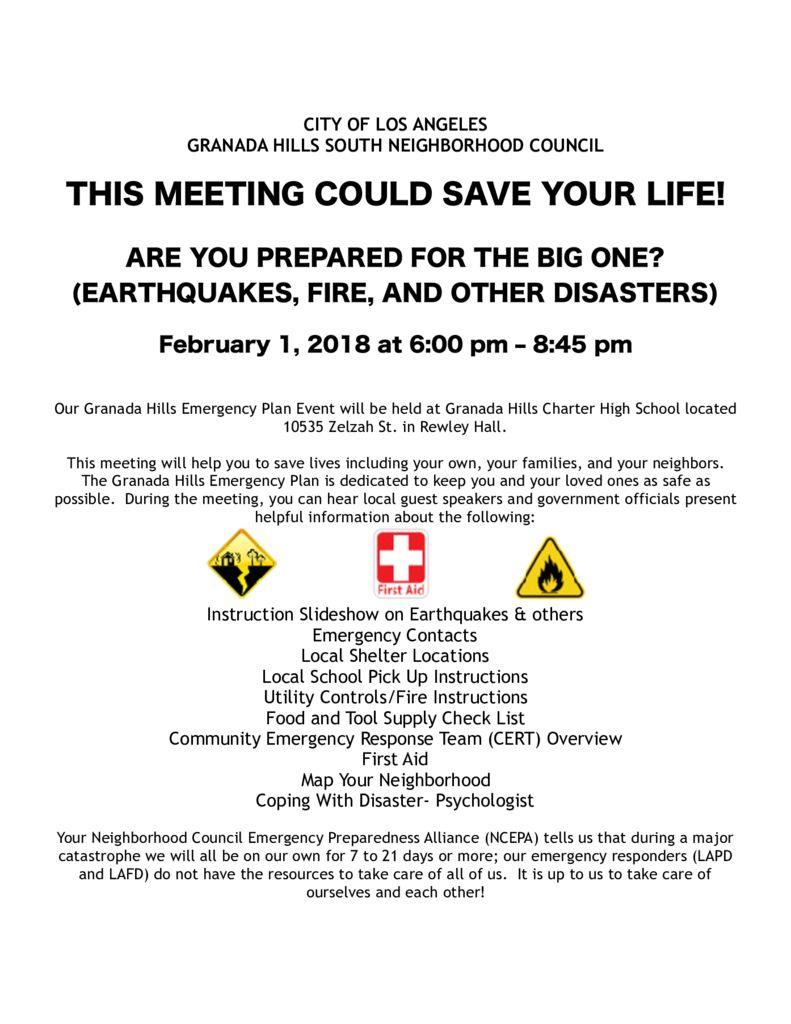 Granada Hills Emergency Planning Town Hall Event – North