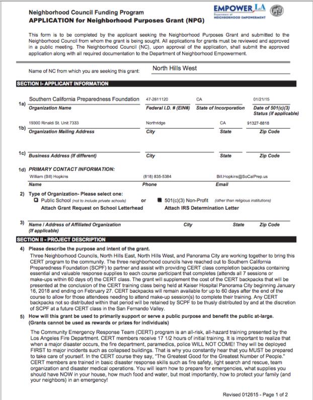 NPG application for CERT 1 class
