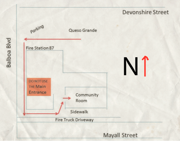map parking for community room at Fire Station 87