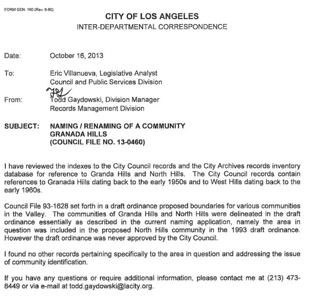 City Letter about community boundaries