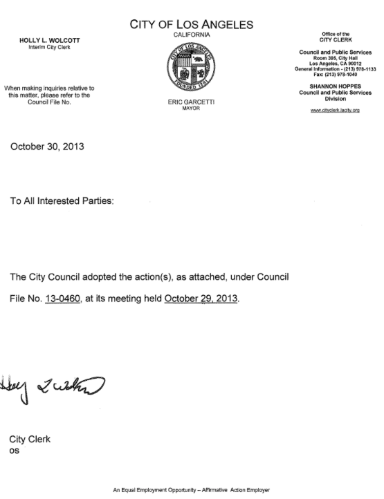 City Council File 13-0460 letter