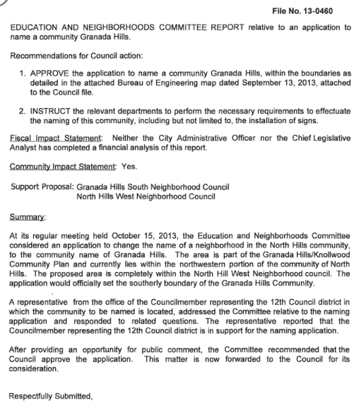LA Committee report on community naming