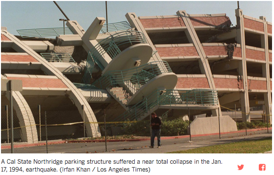 Cal State Northridge parking structure post Jan 17, 1994 earthquake
