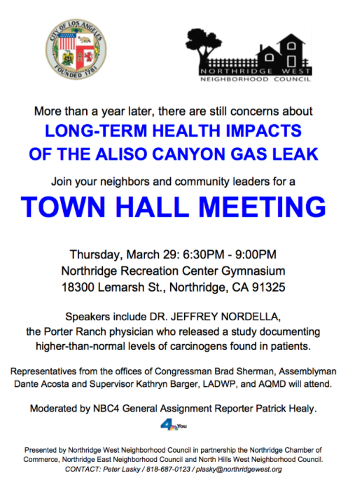 Aliso Canyon Town Hall Meeting flyer
