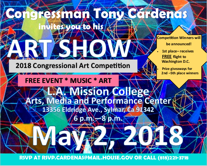 Congressman Tony Cardenas Art Show flyer