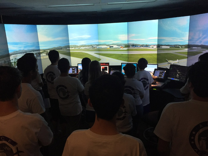 Students in control tower at VNY