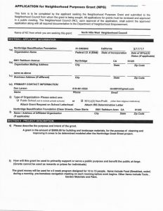 thumbnail of Northridge Beautification Foundation – NPG Application 2019