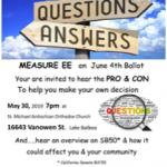 Ballot Measure EE Forum flyer