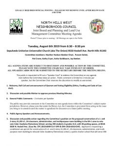 thumbnail of August 6, 2019 NHWNC PLUM Meeting Agenda