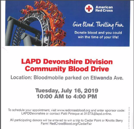 LAPD Devonshire Community Blood Drive