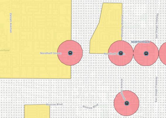 Senate Nill 50 map of zoning increases