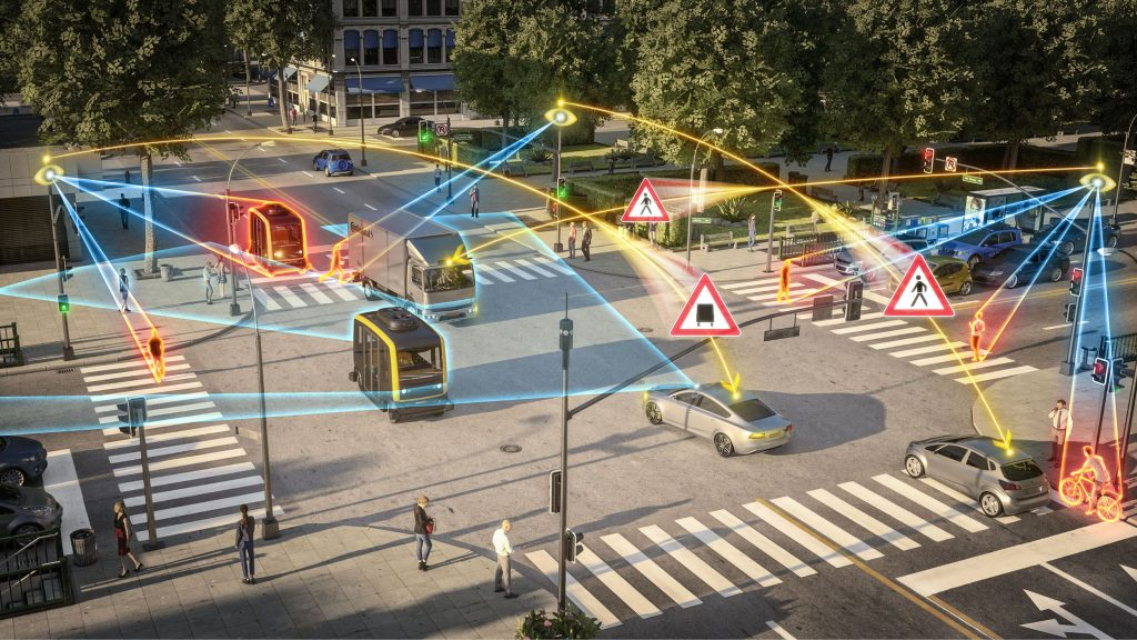 Rendering of intersection with technology observation in action