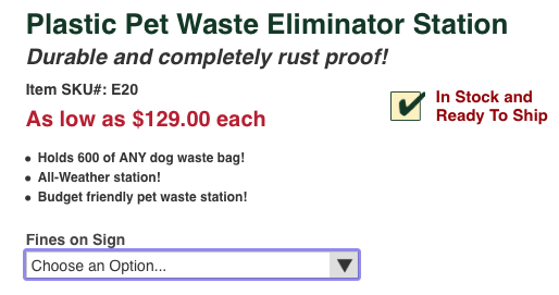 Dog waste outdoor station info