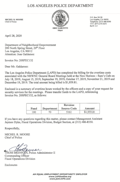 LAPD invoice for NHWNC meetings