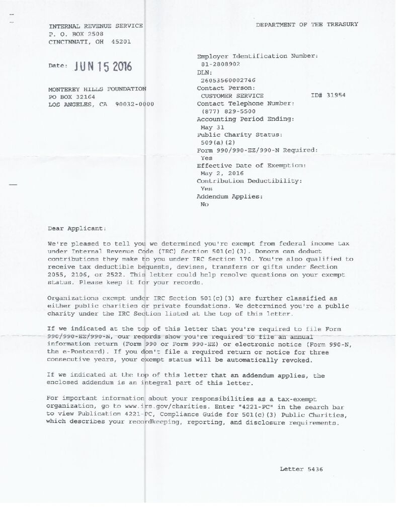 thumbnail of MHF – IRS 501c3 Determination Letter